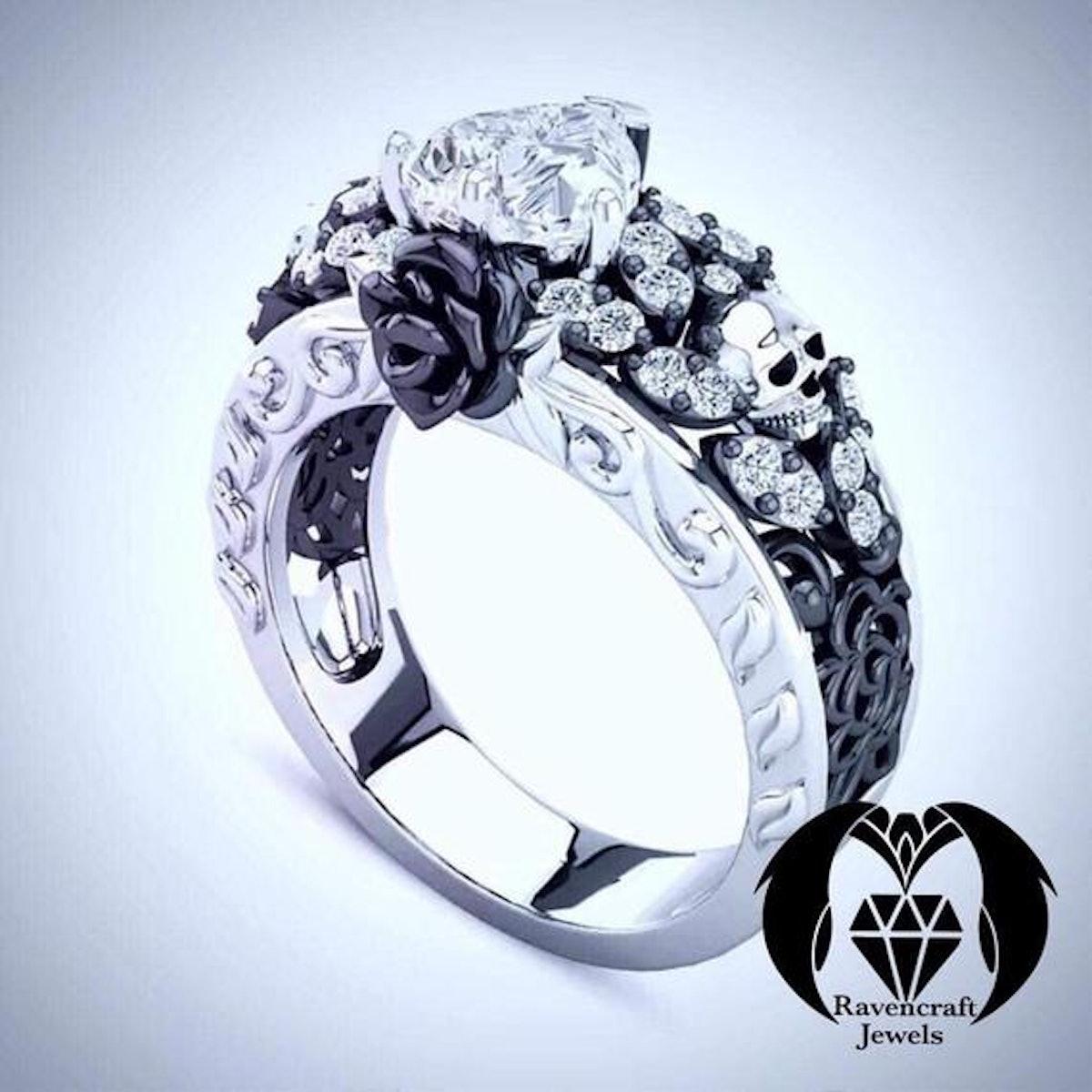 Dia De Los Muertos Black Rose Skull Heart Diamond Engagement Ring