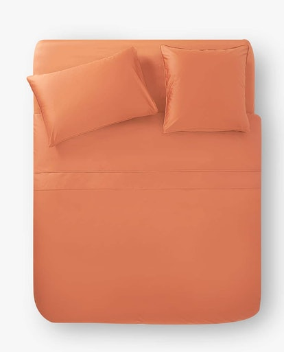 Terracotta Sateen Duvet Cover With Piping