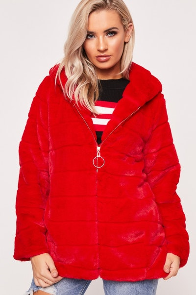 Felicia Red Hooded Faux Fur Coat