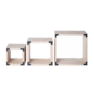 Munson Light Wood Square Cubes 3 Piece Wall Shelf Set