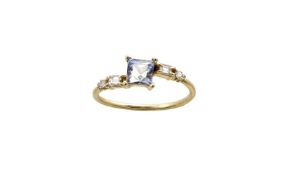 One Of A Kind Blue French Cut Crossover Ring