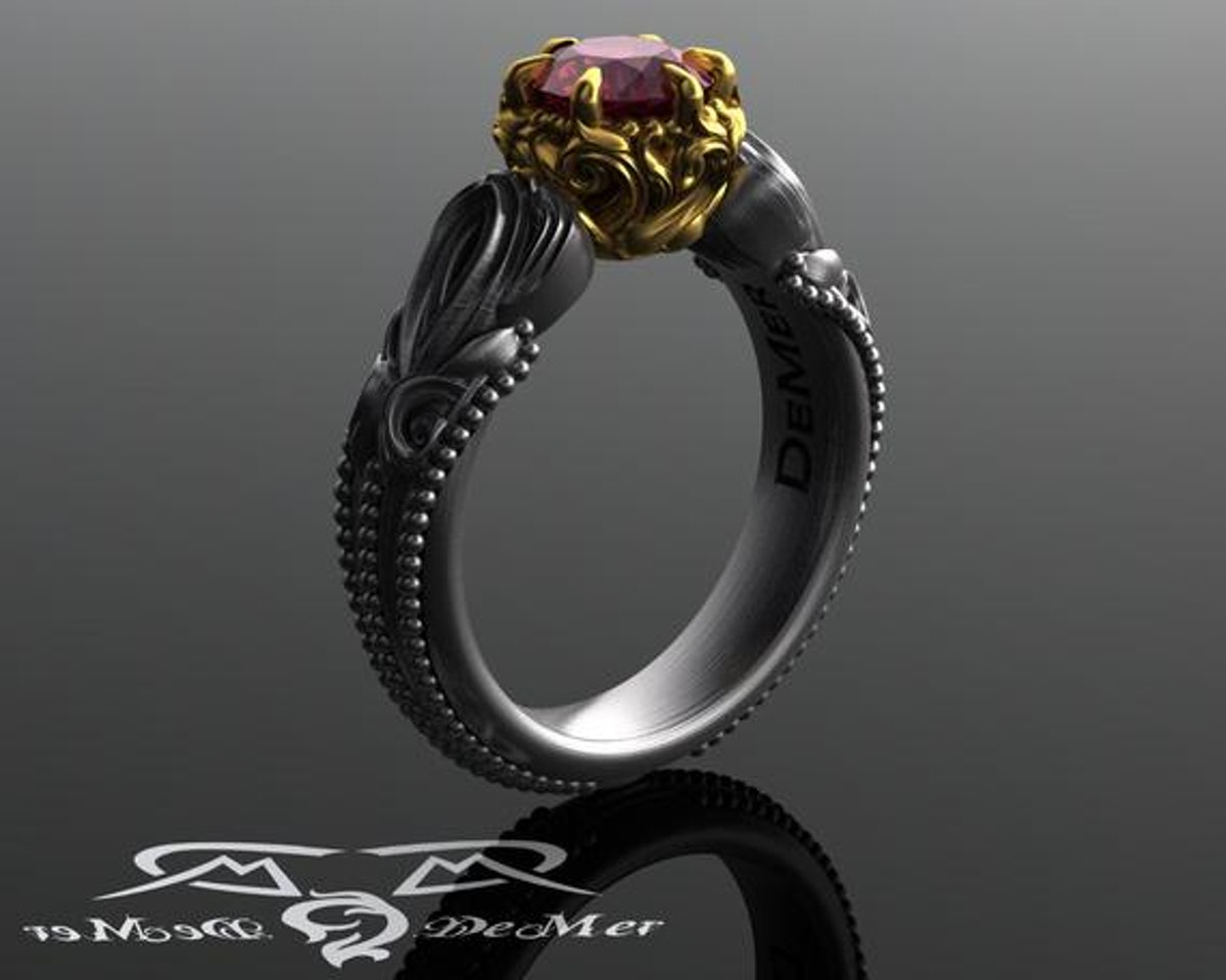 Garnet Engagement Ring In Two-Tone Antiqued Black White and European Yellow Gold.