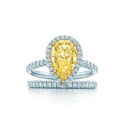 Tiffany Soleste Pear Shape Yellow Diamond Halo Engagement Ring in Platinum