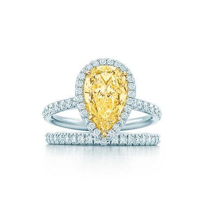 Tiffany Soleste Pear Shape Yellow Diamond Halo Engagement Ring in Platinum