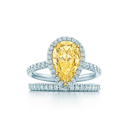 Tiffany Soleste Pear Shape Yellow Diamond Halo Engagement Ring in Platinum 4519997aab0