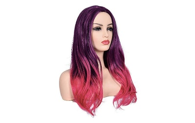 Morvally Women's Long Wavy Ombre Two Tone Purple Pink Synthetic Wig