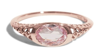 Bario Neal Filigree Rose Cut Oval Pink Sapphire Ring