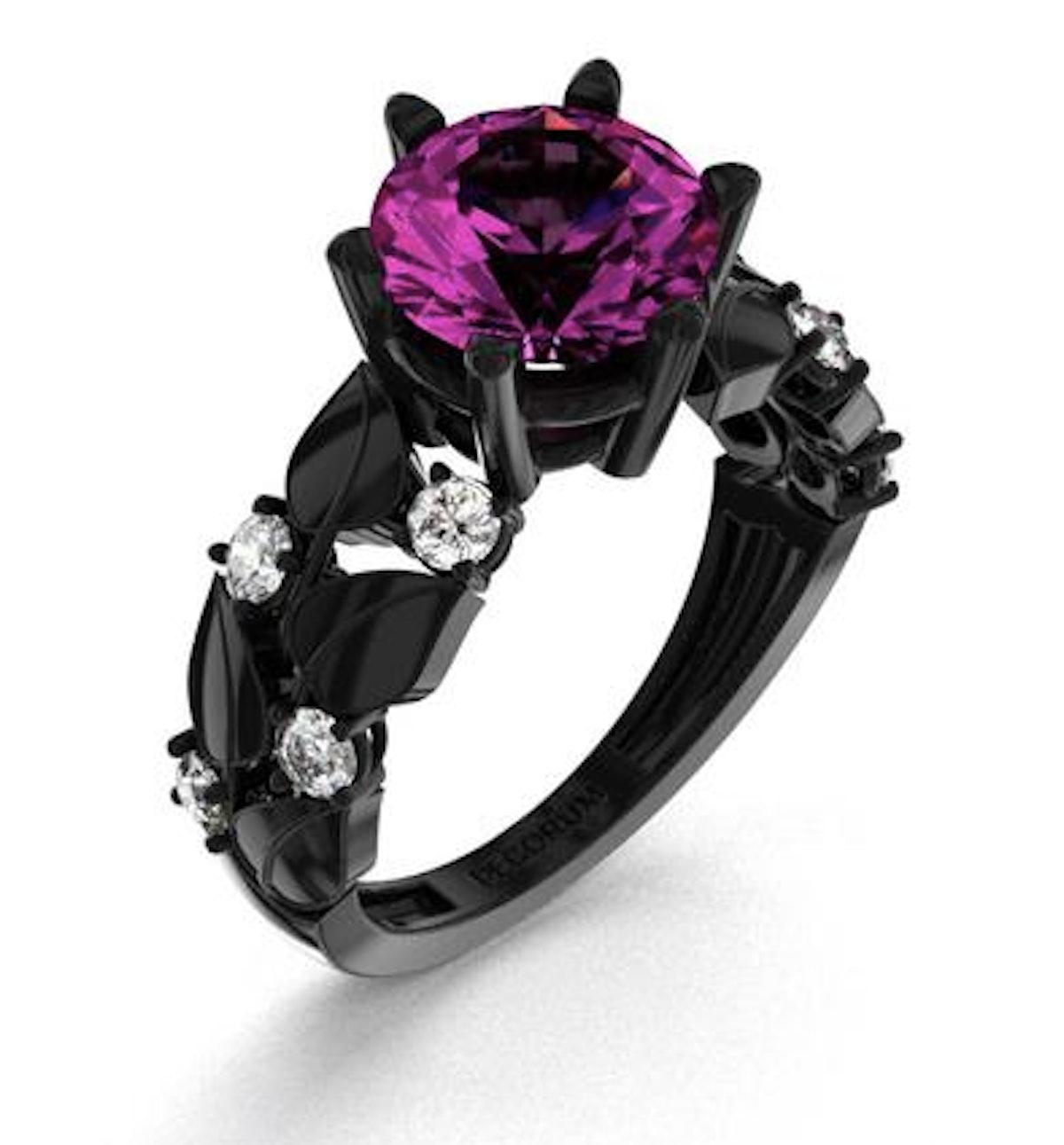 14K Black Gold 3.0 Ct Amethyst Diamond Floral Engagement Ring