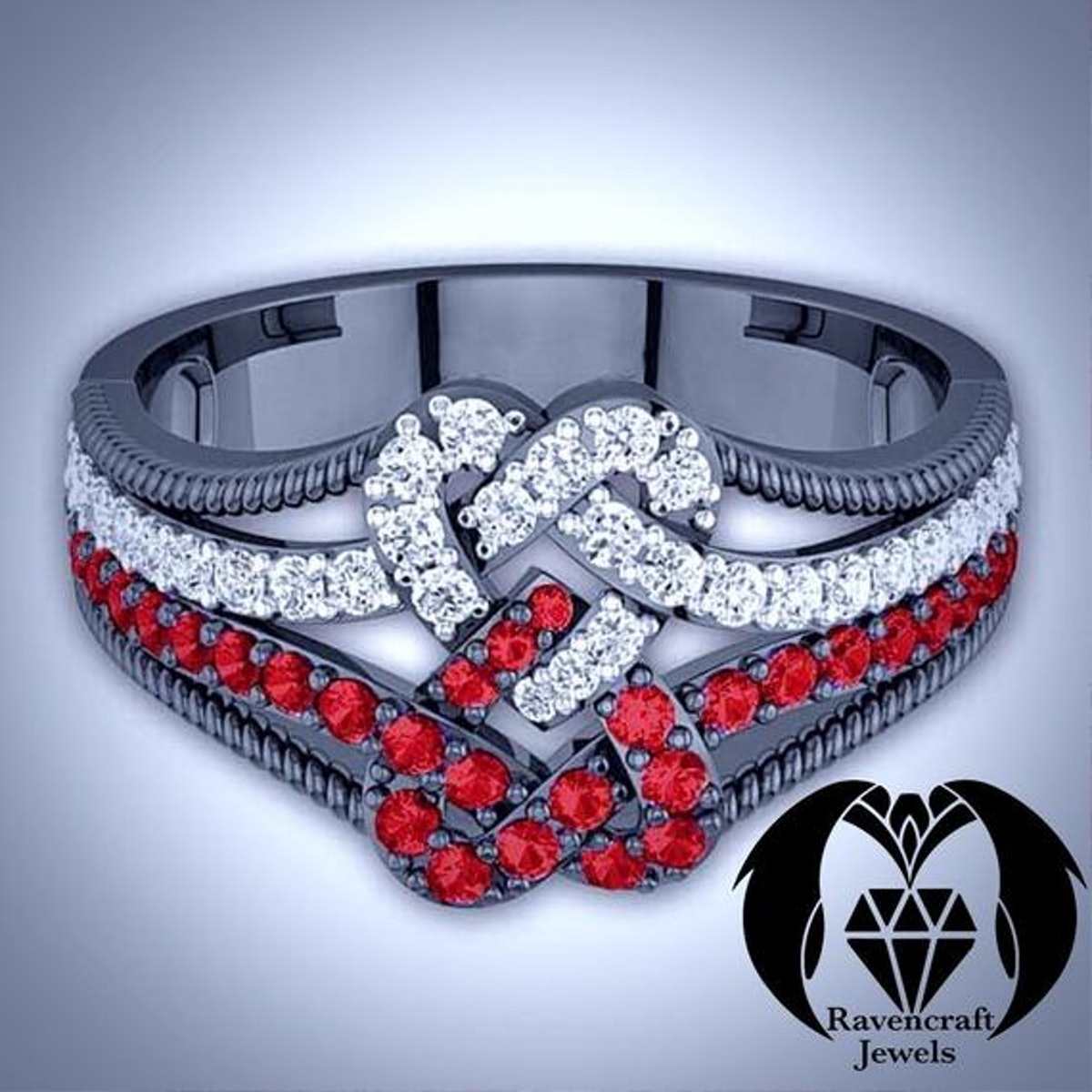 Jack and Sally Infinity Heart Ruby and Diamond Engagement Ring