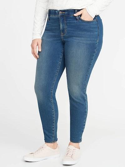 High-Rise Secret-Slim Pockets + Waistband Built-In Warm Rockstar Super Skinny Plus-Size Jeans