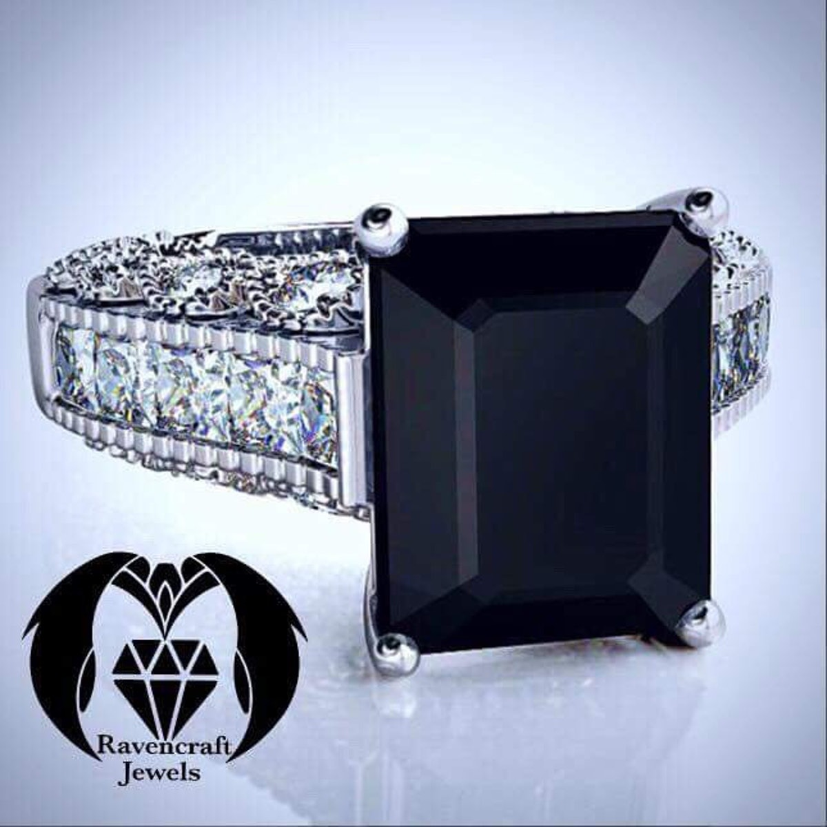 Emerald Cut Black Diamond Victorian Engagement Ring