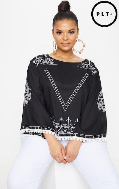 Plus Black Embroidered Pom Pom trim Top
