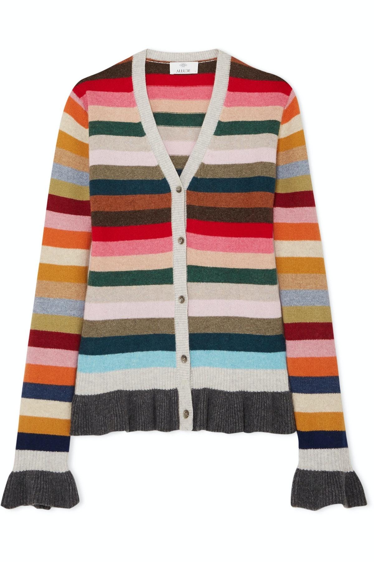 Ruffled Wool Cardigan