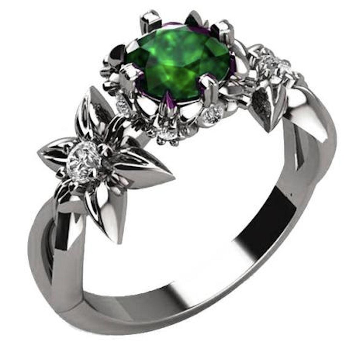 Gold Flower Engagement Ring Art Nouveau