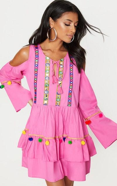 Pink Pom Pom Mirror Trim Shift Dress