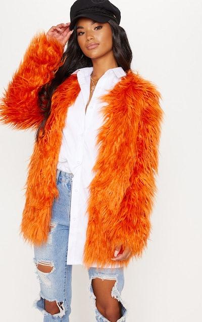 Orange Shaggy Faux Fur Coat