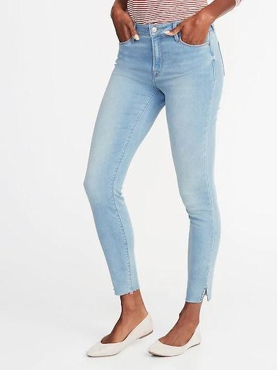 Mid-Rise Built-In Warm Raw-Edge Rockstar Super Skinny Jeans