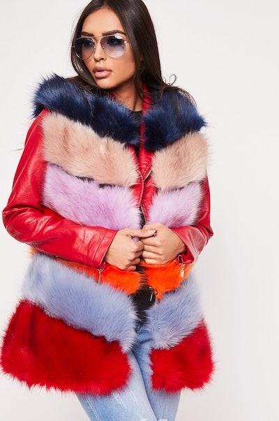 Raegan Orange Multi Faux Fur Gilet