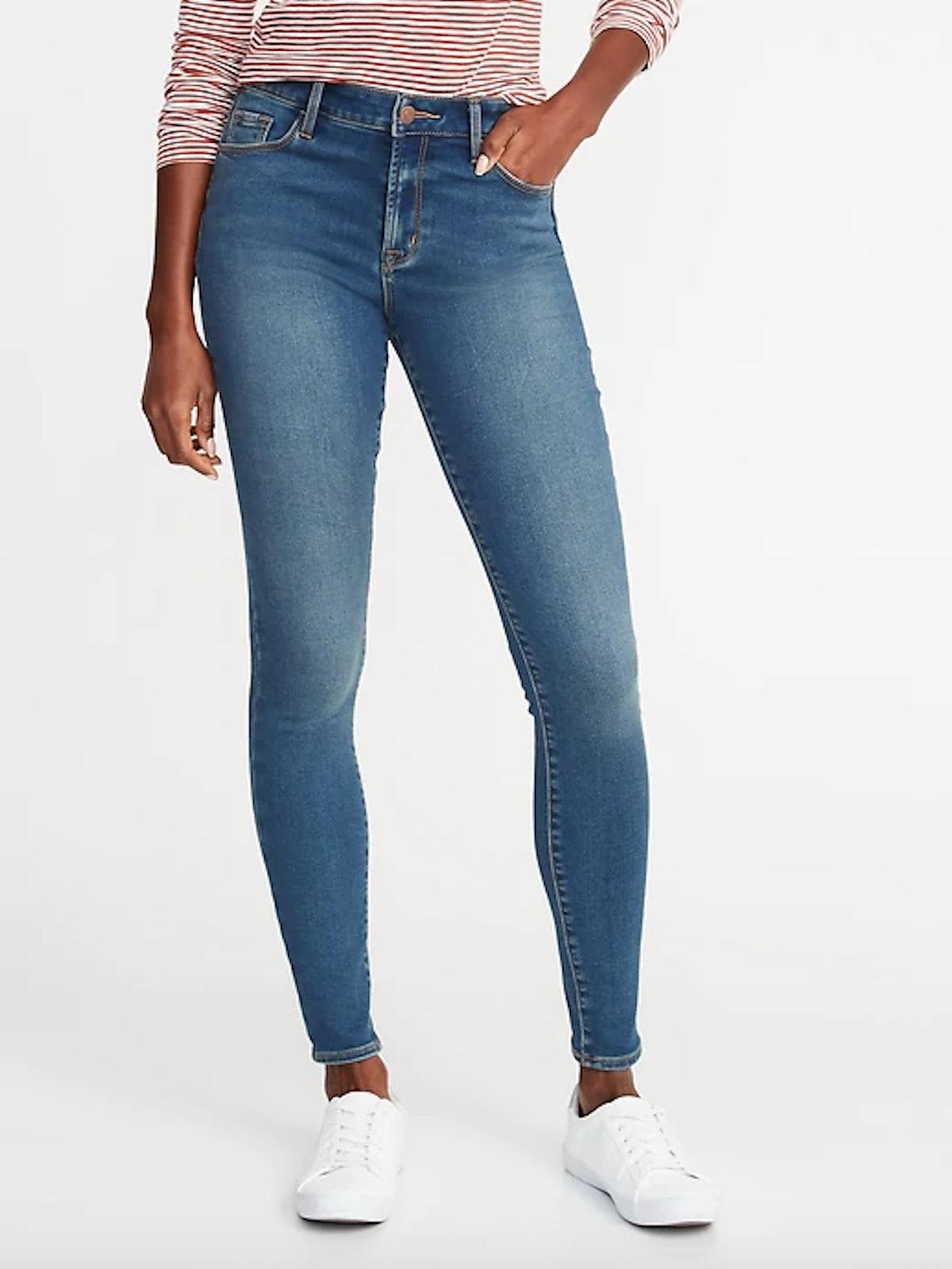 Mid-Rise Built-In Warm Rockstar Super Skinny Jeans