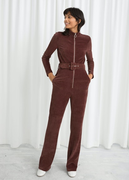 Belted Corduroy Jumpsuit
