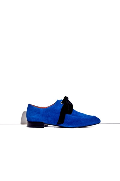 Square-Toe Lace-Up in Electric Blue
