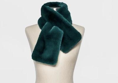 Women's Mini Faux Fur Pull Through Scarf - A New Day