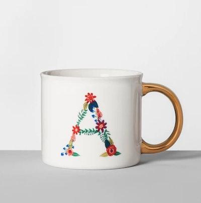 Monogrammed Porcelain Floral Mug A 16oz White/Gold - Opalhous