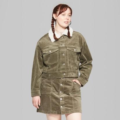 Plus Size Corduroy Sherpa Collar Jacket