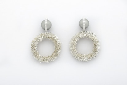 Sparkling Silver Hoops With Wrapped Pearls