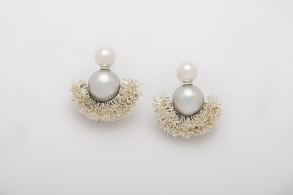 Sparkling Half Moons Earrings In Silver Shades