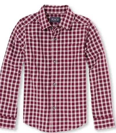 Boys Long Sleeve Check Print Poplin Button-Down Shirt