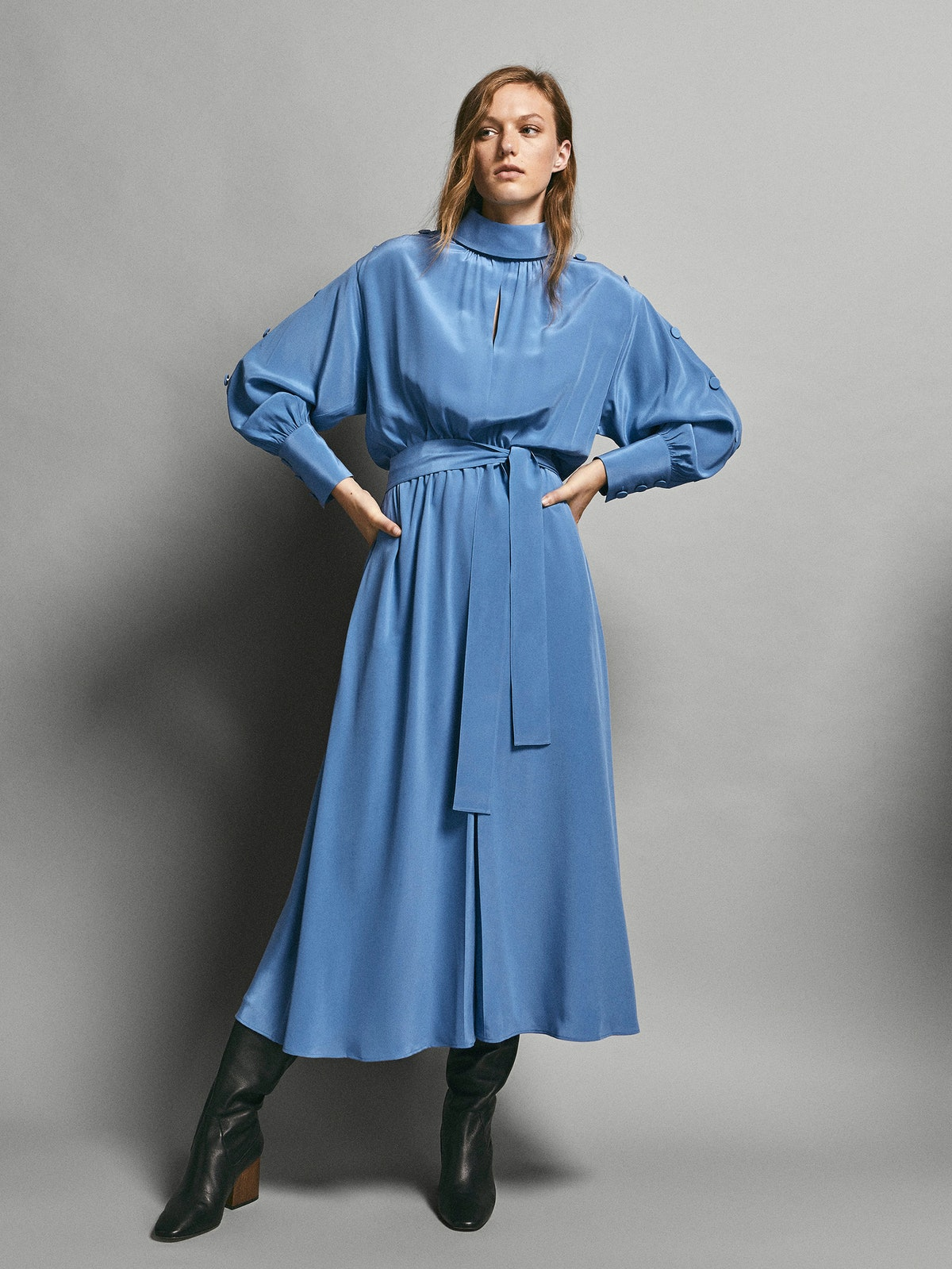 Limited Edition Buttoned 100% Silk Dress