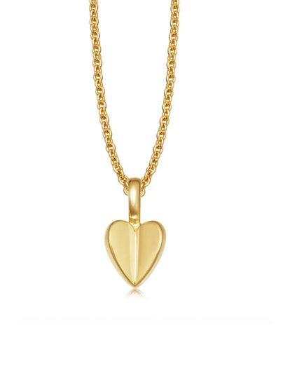 Folded Heart Charm Necklace