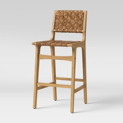 Ceylon Woven and Wood Barstool Brown & Natural Wood - Opalhouse