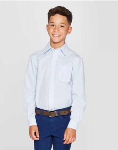 Boys' Checked Long Sleeve Button-Down Shirt - Cat & Jack™