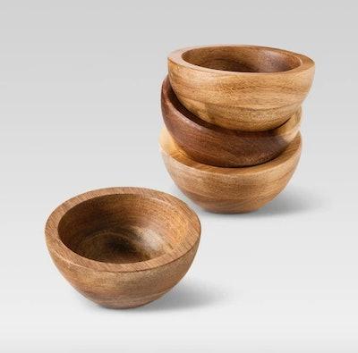 Set of 4 Natural Acacia Dip Bowls - Threshold