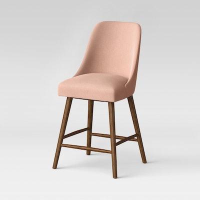 "26"" Geller Modern Counter Stool Blush with Chestnut Legs - Project 62"