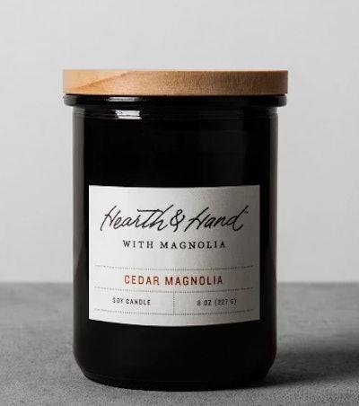 Lidded Jar Container Candle 8oz - Cedar Magnolia - Hearth & Hand with Magnolia