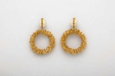 Sparkling Gold Hoops With Wrapped Pearls