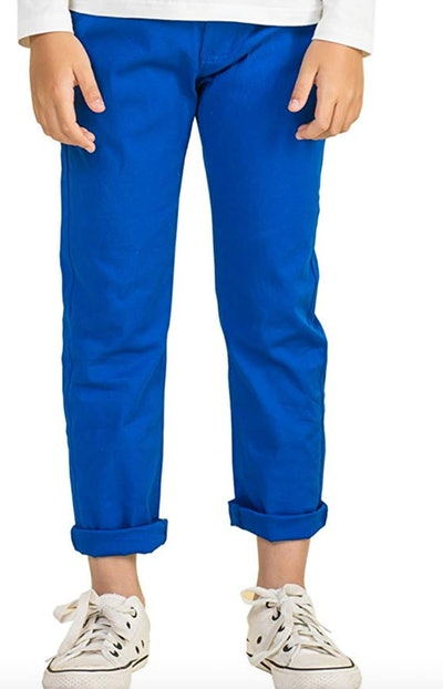 BYCR Boys' Solid Color Elastic Chino Cotton Pant for Kids Size 4-16