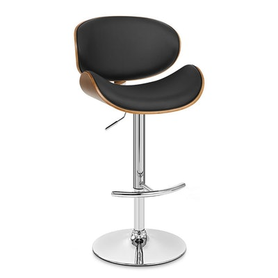 Naples Swivel Barstool in Chrome finish with Black Faux Leather and Walnut Veneer Back - Armen Living