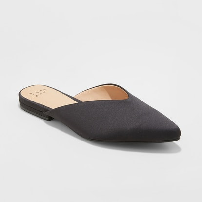 Women's Lan Faux Satin V Throat Backless Mules - A New Day™