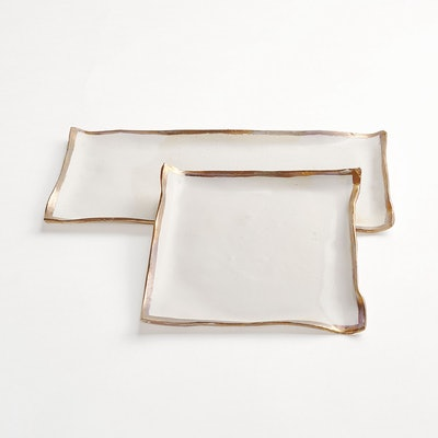 Jan Burtz Porcelain Trays Gold Luster