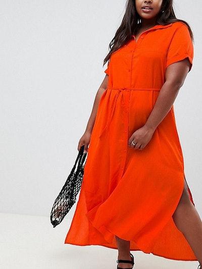 Glamorous Curve Shirt Dress With Tie Waist