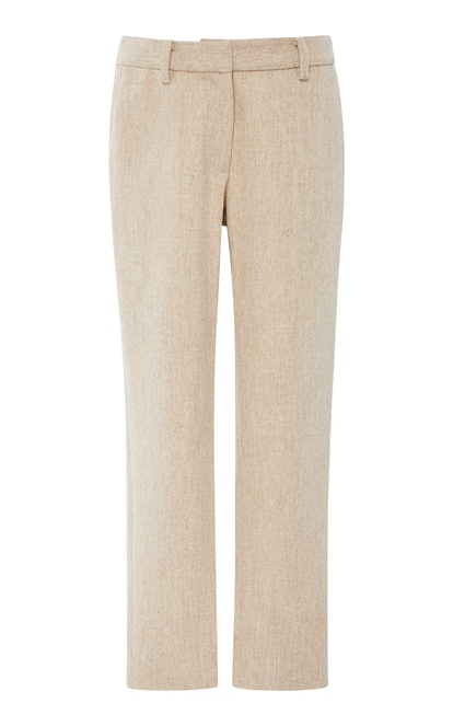 Cropped Textured Wool Trousers