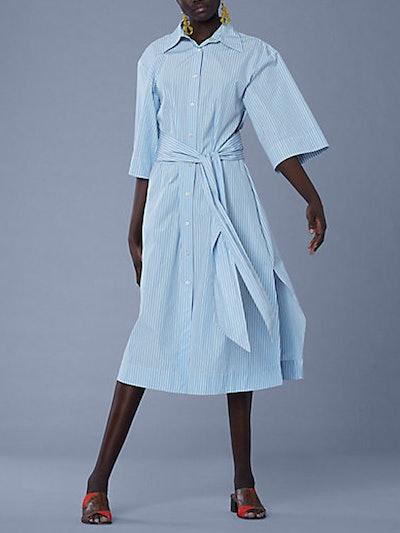 3/4-Sleeve Cotton Belt Shirt Dress