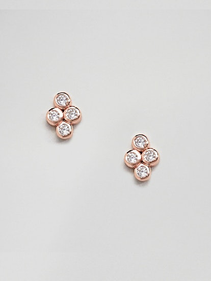 Shashi Sterling Silver 18K Rose Gold Plated Noa Stud Earrings