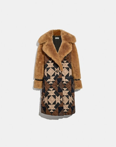 Patchwork Shearling Coat