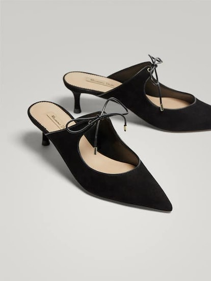 Black Leather Slingback Court Shoes