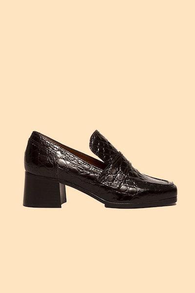 Sage Black Embossed Calf Loafer